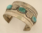 RESERVED for Salome Raven.....Vintage HandCrafted Egyptian Revival Cuff Bracelet with Scarabs