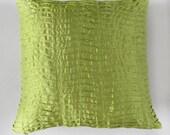 lime green pleated pillow. lemon green  decorative pillow cover. lime  green euro sham  pintuck cushion. 26 inch  custom made.