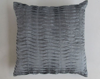 gray pleated throw pillow cover 16 inch Gary dupioni silk  cushion cover and throw  pillow