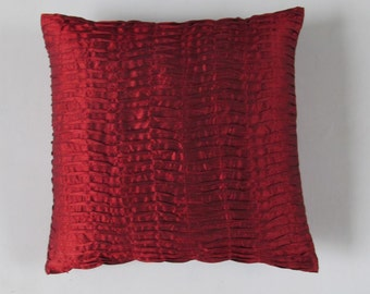 deep red pillow pleated- 20 inch cushion cover only Custom made