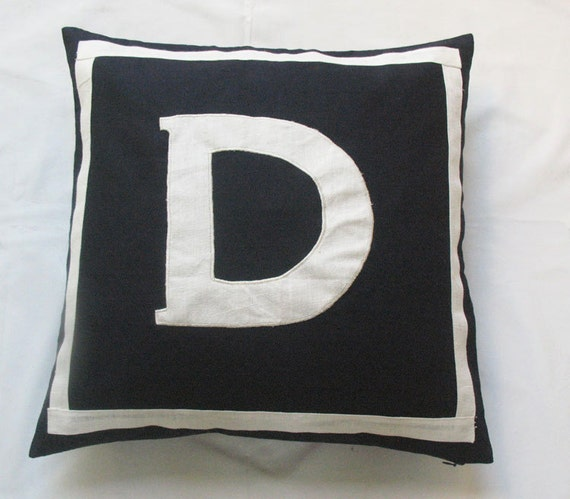 Letter D Black and white monogram pillow cover 18 inch - IN STOCK