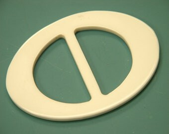 Large vintage 1960s unused oval white plastic buckle for your sewing prodjects