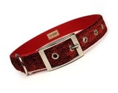 red sparkle Valentines Day metal buckle dog collar (1 inch)