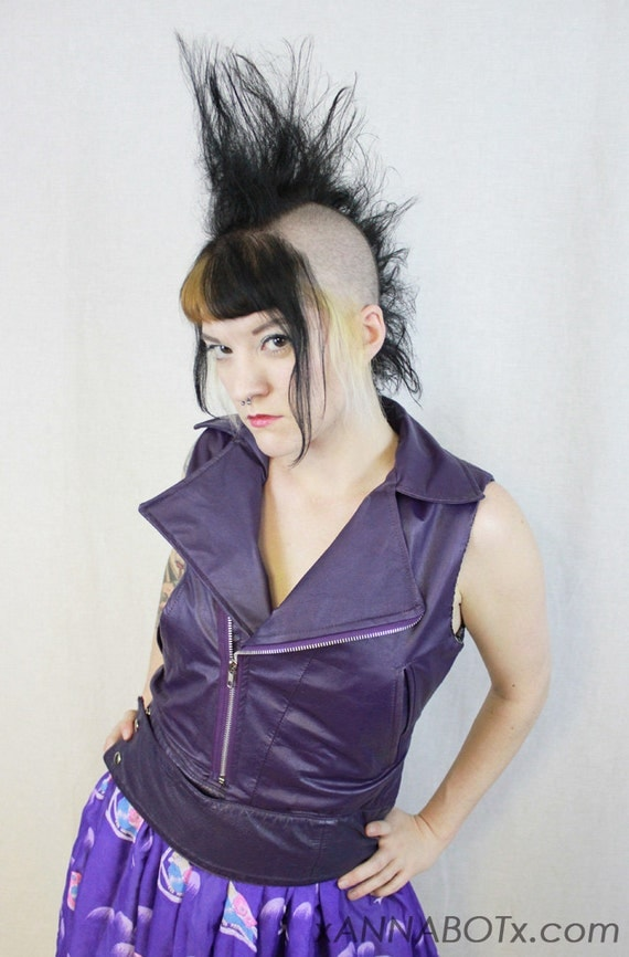 Purple Recycled Leather Motorcycle Vest - Black and White Plaid Moto Jacket - Punk Rockabilly Goth Metal