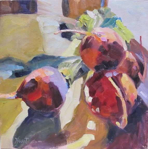 Reserved for Mary     original painting, 10X10, still life, beets, orange, 'Orange Organic Beets' by Linda Hunt