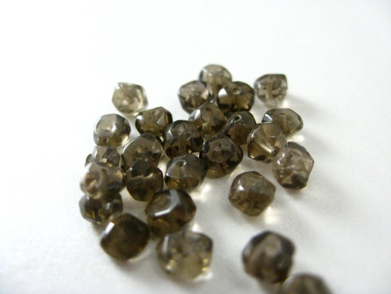 Smoky Quartz Irregular Faceted Rondelle Beads