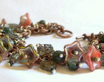 Charm Bracelet Floral Bracelet Czech Glass Bracelet Copper Bracelet Red Bracelet Jasper Jewelry Beaded Jewelry Gift Ideas