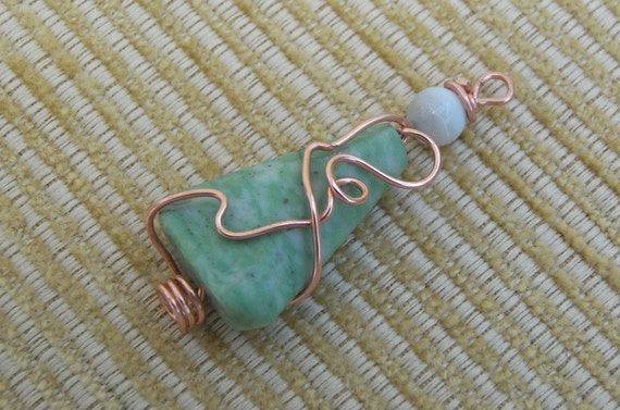 Red Headed Lady Moss Green Tree Agate Pendant
