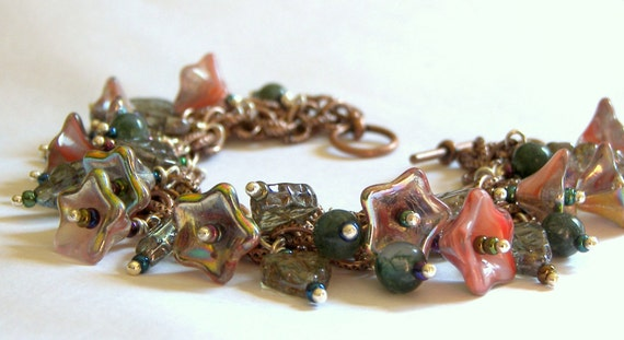 Cyber Monday Sale Charm Bracelet Floral Bracelet Czech Glass Bracelet Copper Bracelet Red Bracelet Jasper Jewelry Beaded Jewelry Gift Ideas