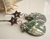 RESERVED - BEACH BRIGHT - Abalone and Sterling Silver Earrings with Swarovski Crystals