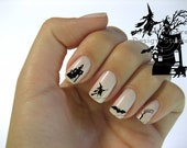 Silhouette Black  Halloween Witch/Tree/Cat/House Nail Art Waterslide Water Decals - hw-001