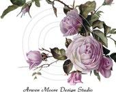 Beautiful Vintage Chic Shabby Purple Lavender Roses Waterslide Water Slide Miniature Decals ro-109