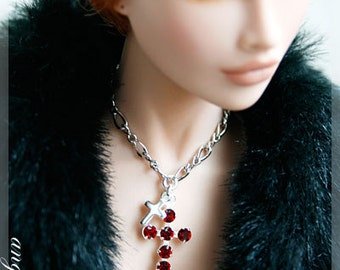 Silver Necklace with Red Swarovski Cross-shaped crystal Pendant