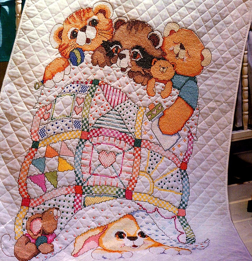 Adorable Baby Crib Quilt Bucilla Stamped Cross Stitch Kit