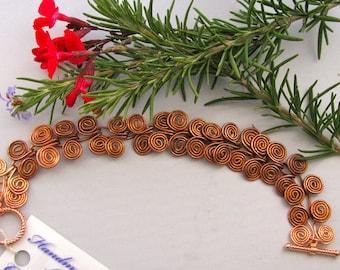 Solid Copper Spiral Handmade Bracelet