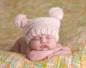 Newborn Hat, Girl Hat with Pompoms, Baby Hat, Girl Hat, Handmade Pink Flat Top Hat with Pompoms for Newborn and Baby Photography Prop