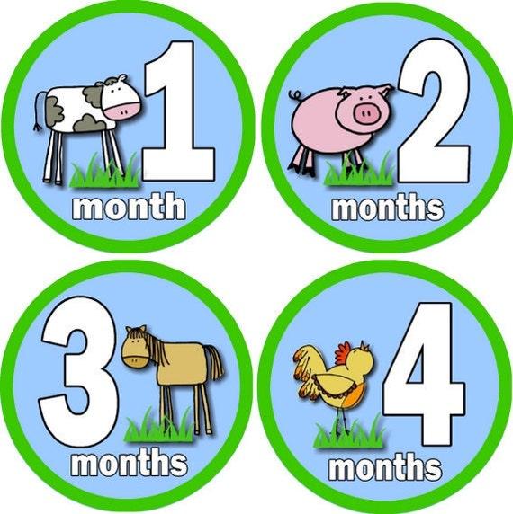 Monthly Onesie Baby Growth Stickers - Farm Animals