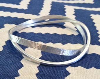 Sterling Silver Bangle Set with Hammered Texture