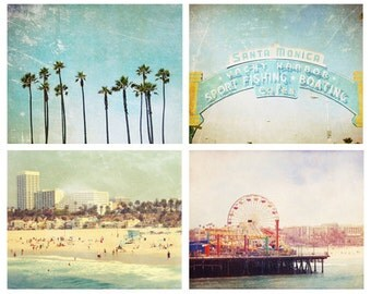 California Collection 4 - 5x7's, Santa Monica, Los Angeles, Beach, Ocean, Palm Trees, West Coast, LA