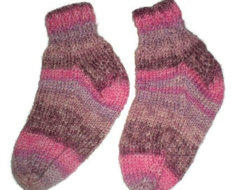 Socks - Hand Knit Baby Socks with Pink and Brown Stripes
