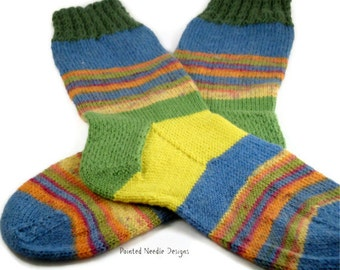 Hand Knit  Socks - Women's Socks with Multi-Colored Stripes - Size 6-7