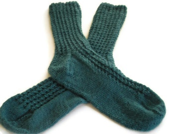 Socks - Hand Knit Women's Green Patterned Socks - Size 7-8