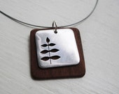 Acacia Leaf Square Cutout Neckwire Necklace -- Modern Woods