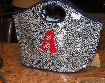 Navy and White Bucket Tote Monogrammed