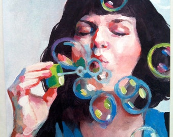 Jenny / Big print  /  Soap bubbles / This is a print of a acrylic painting , wall art- art decor - woman PORTRAIT ART PRINT