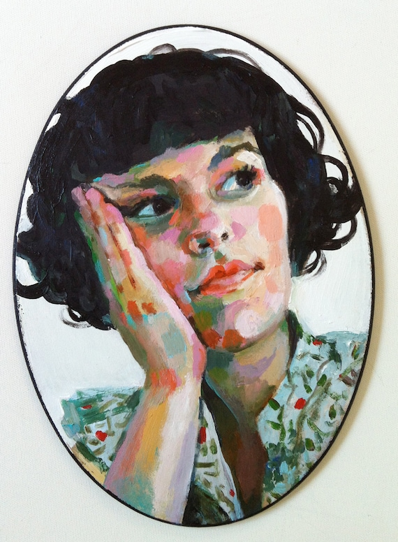 Jenny / original acrylic painting on ellipse  shaped mdf  / woman illustration / Painted flowers / Retro / Hairdo / Flowers