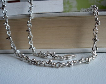 Nudos Knots Sterling Silver Necklace. Organic Linked Handmade Chain. Knot Link. Rustic Links
