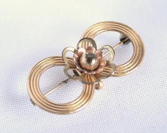12K Gold Harry Iskin Brooch Pendant Vintage Modernist Double Circles Flower