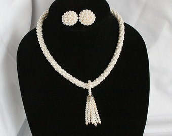 White Pearl Tassel Necklace Earrings Set Vintage Tiny Faux Pearl Rope Dangle Drop