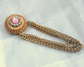Chatelain Brooch Pink Satin Glass Swag Pin Rhinestones Chain Dangle Pin