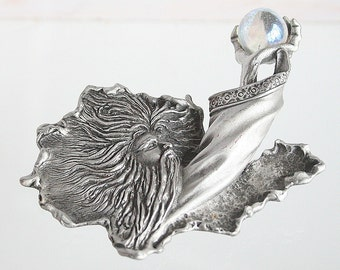 Wizard Holding Crystal Ball Brooch Vintage Pin Chunky Holding Orb JJ Pewter Silver