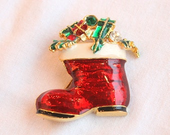 Christmas Stocking Santa Boot Brooch Vintage Red Enamel Xmas Figural Pin