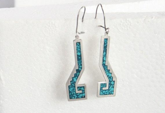 Vintage Turquoise Silver Pierced Earrings Sterling Dangle Drop Southwestern Geometric