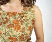Vintage 1960s Blouse // Autumn Colors Floral Sleeveless Sheel