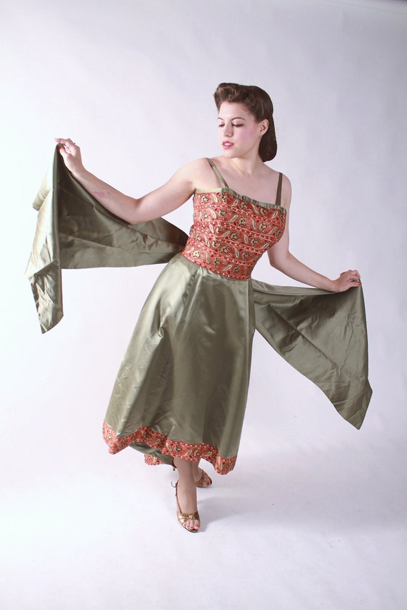 Vintage 1950s Cocktail Party Dress // Green Silk Dress with Orange Brocade and Dramatic Train by Patullo - Jo Copeland