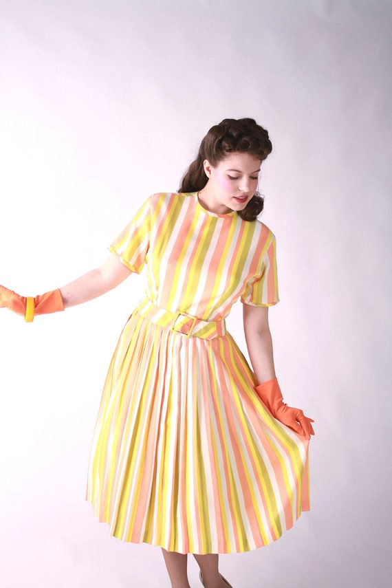 LAST CHANCE Vintage 1960s Dress - Early 60s Sherbet Striped Summertime Day Dress with Pleated Skirt