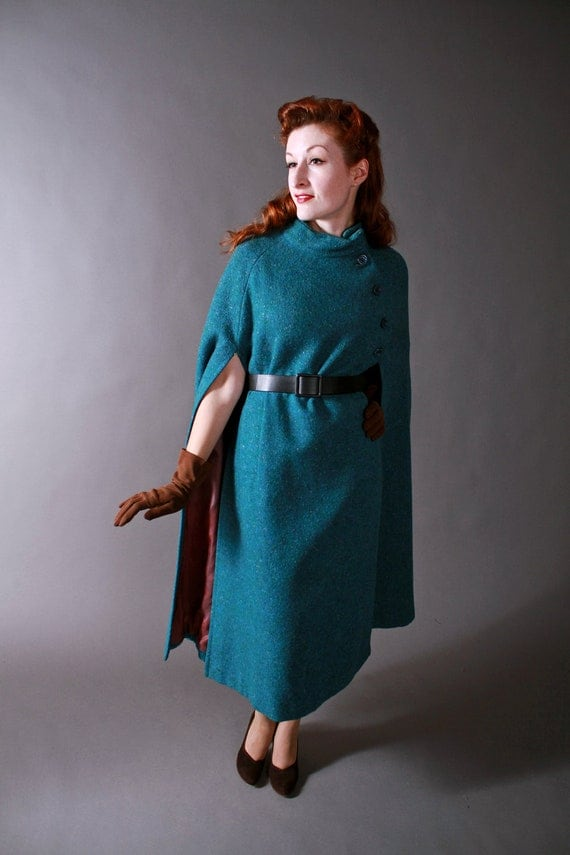 Vintage 1980s Jimmy Hourihan Wool Tweed Cape Made in Ireland