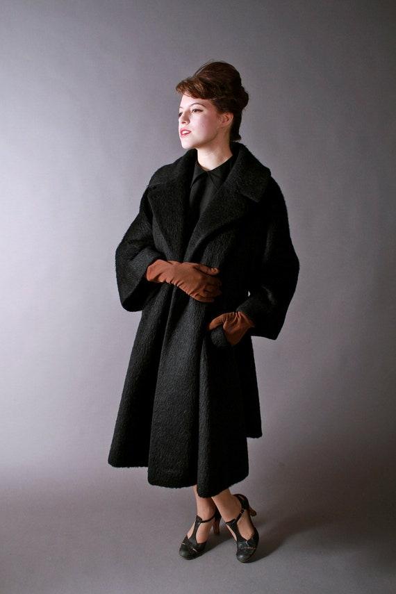 Vintage 1960s Lilli Ann Trapeze Coat in Black Mohair
