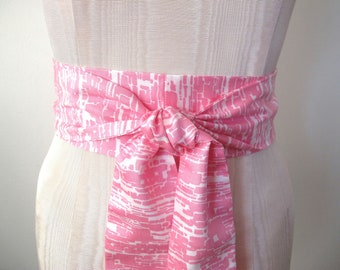 Obi Wrap Belt Pink and White Abstract Cotton Sateen Fabric by ccdoodle - ready to ship