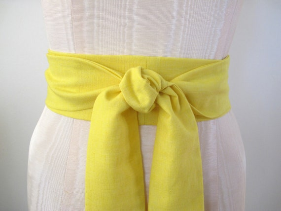 Yellow Obi Sash in a Textured Vintage Cotton Fabric by ccdoodle on etsy - made to order