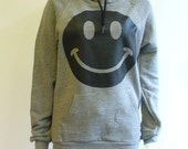 Unisex Smiley Face Hoodie w/ Suede detail