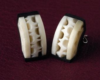 Carved Ox Bone & Ebony Victorian Post Earrings