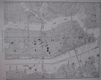 Old City Map of Lower Manhattan New York. FREE U.S. SHIPPING