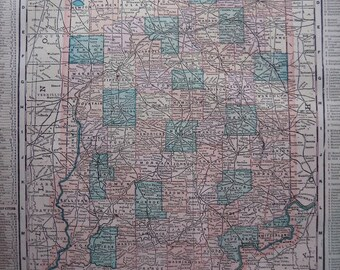 Old 1899 Color Map of Indiana. FREE U.S. SHIPPING