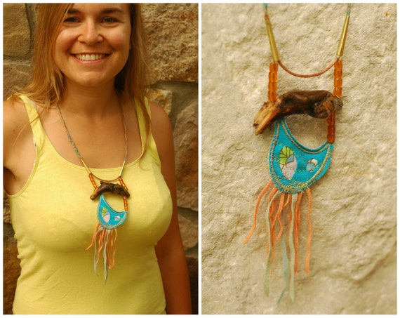 Reserved for Vicki - Upcycled Driftwood Necklace - Hemp Jewelry with Fiber art and Textile - Unique and natural accessories