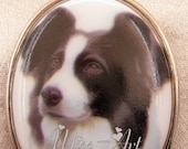 BORDER COLLIE Dog Portrait Porcelain Cameo Vintage Locket New Silvertone Necklace Miss-art